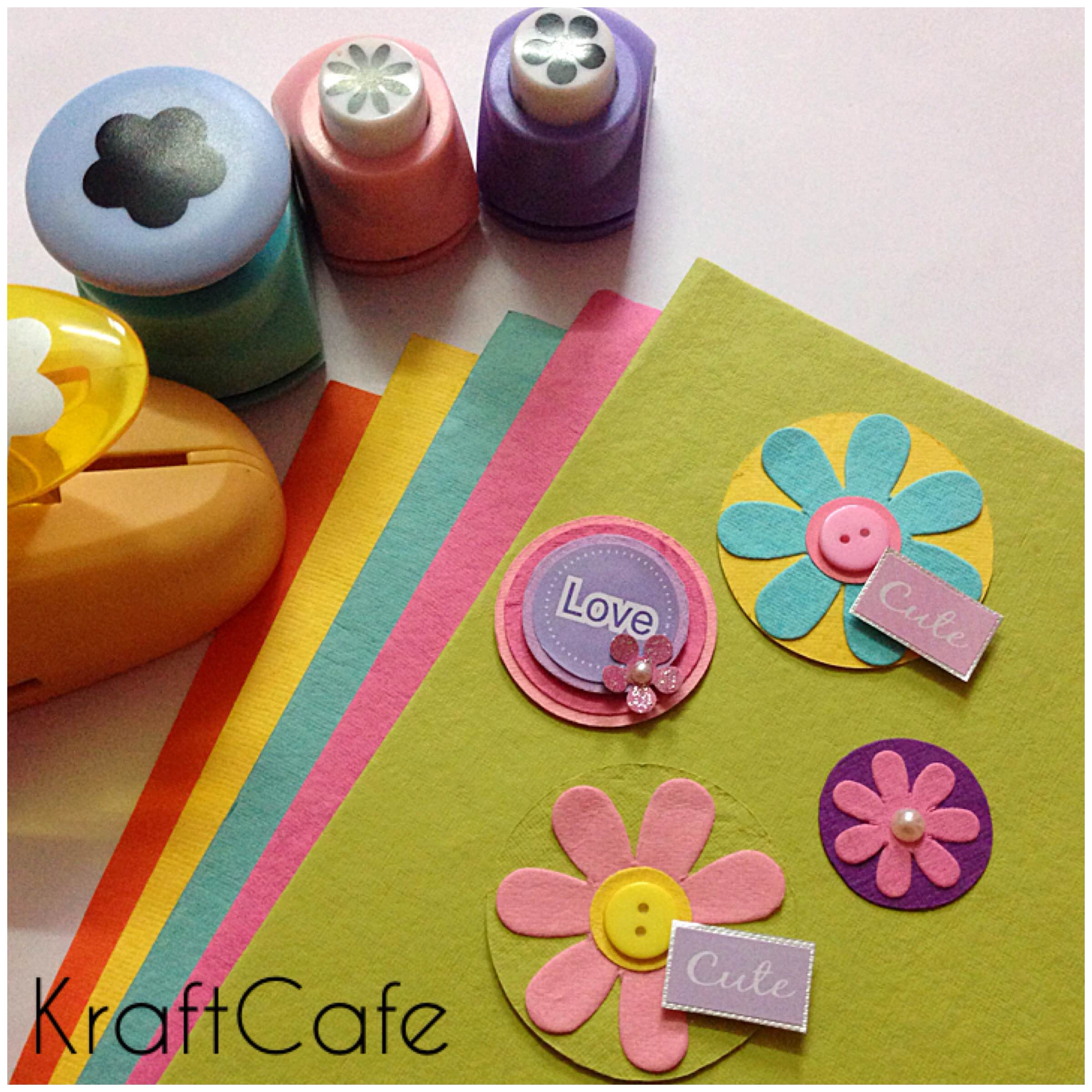 Diy paper embellishments kraftcafe for Art and craft file cover decoration